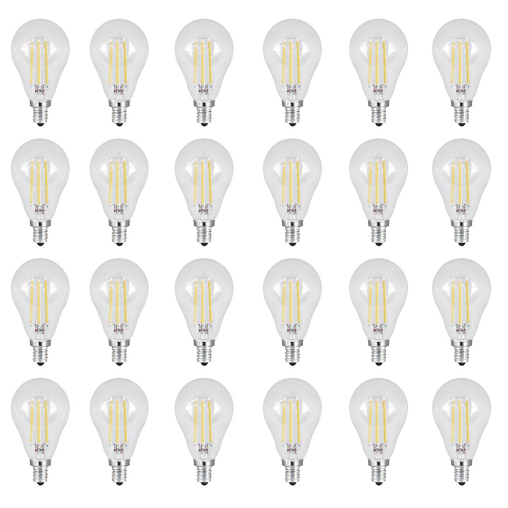 40W Equivalent Soft White (2700K) A15 Candelabra Dimmable Filament LED Clear
