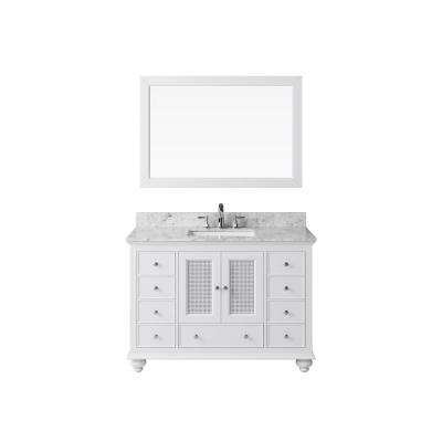 48 in. Vanity in White with Marble Vanity Top in Carrara White with White Basin and Mirror