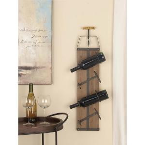 32 inch x 8 inch Rustic Iron and Wood Wine Rack with Corkscrew Sculpture by