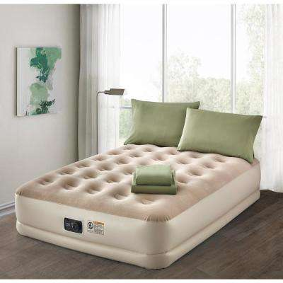 Deluxe 16 in. Queen Air Mattress with Complete Sage Bedding Set