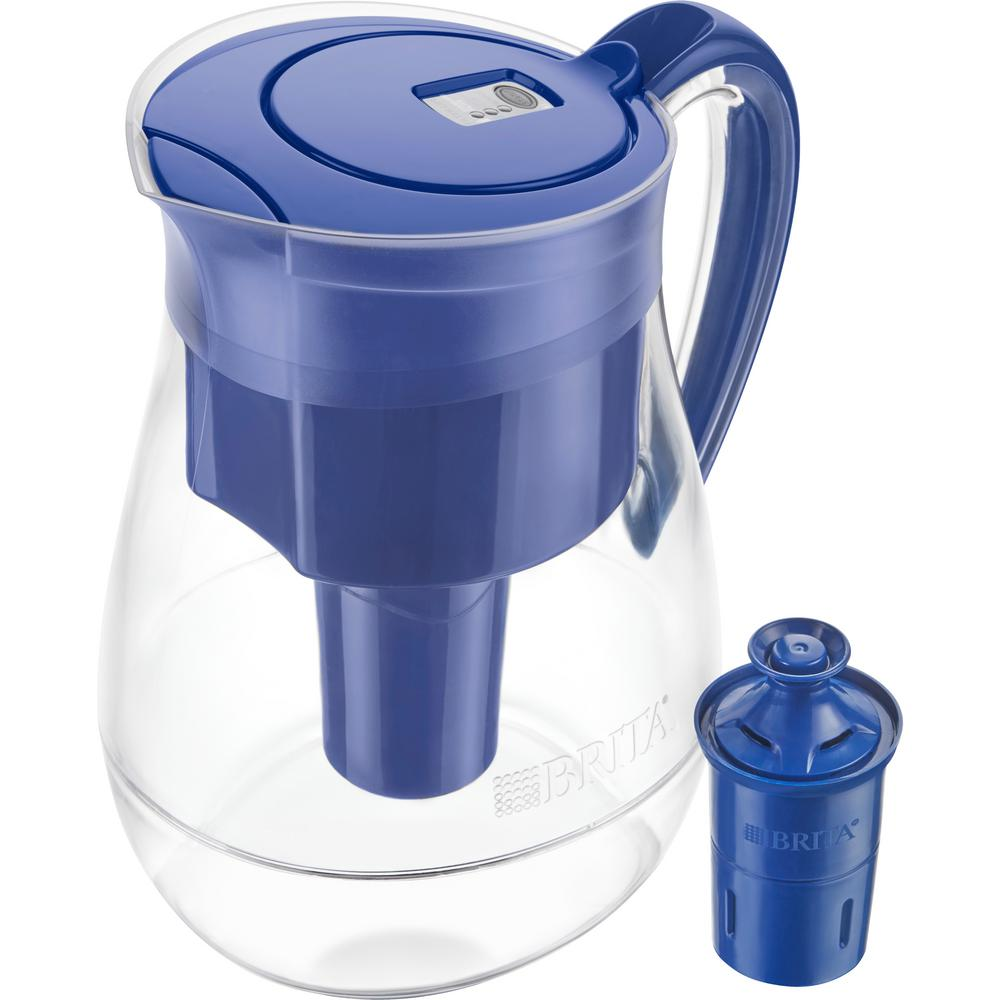 Brita Monterey 10-Cup Water Filter Pitcher in Blue with Longlast Filter, BPA Free