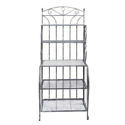 Saddlebrook 28 in. x 19 in. x 65 in. Antique Pewter Barnwood Gray Stained Rubberwood Bakers Rack