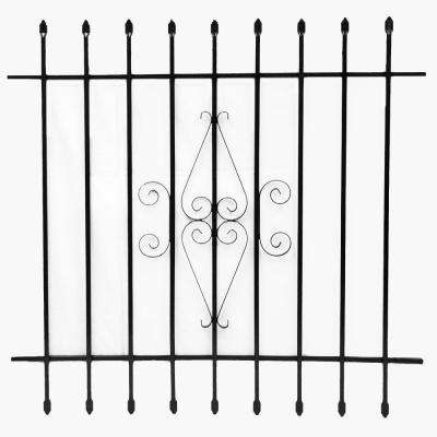 42 in. x 42 in. Black Window Bar with Spear Points