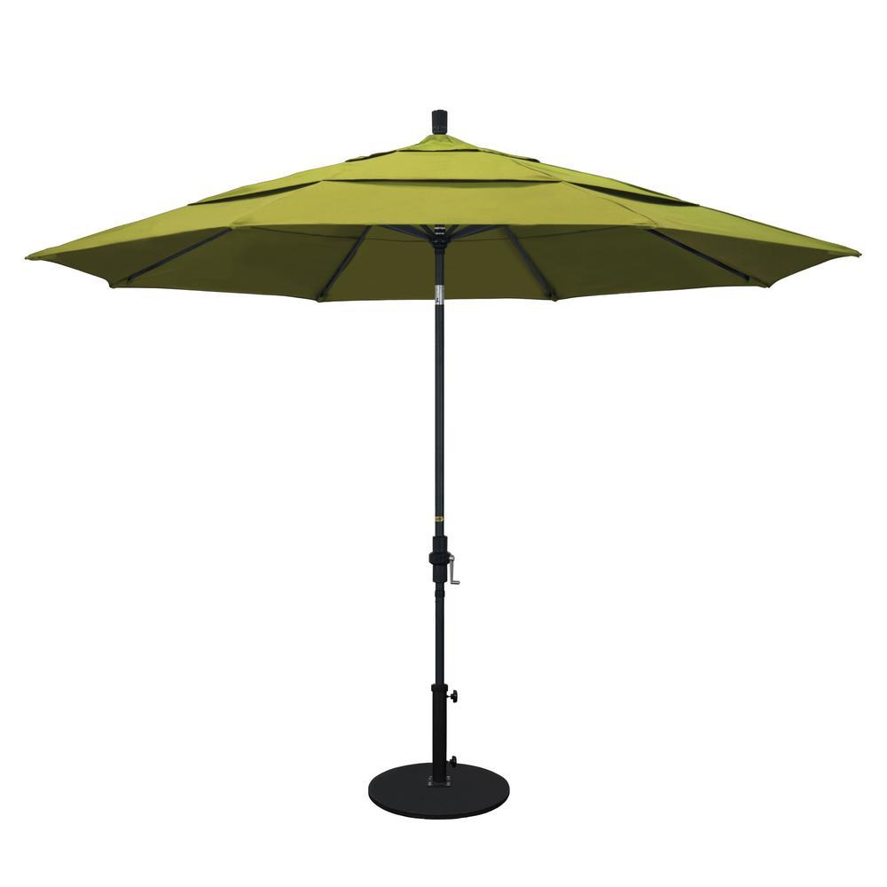 11 ft. Aluminum Collar Tilt Double Vented Patio Umbrella in Kiwi