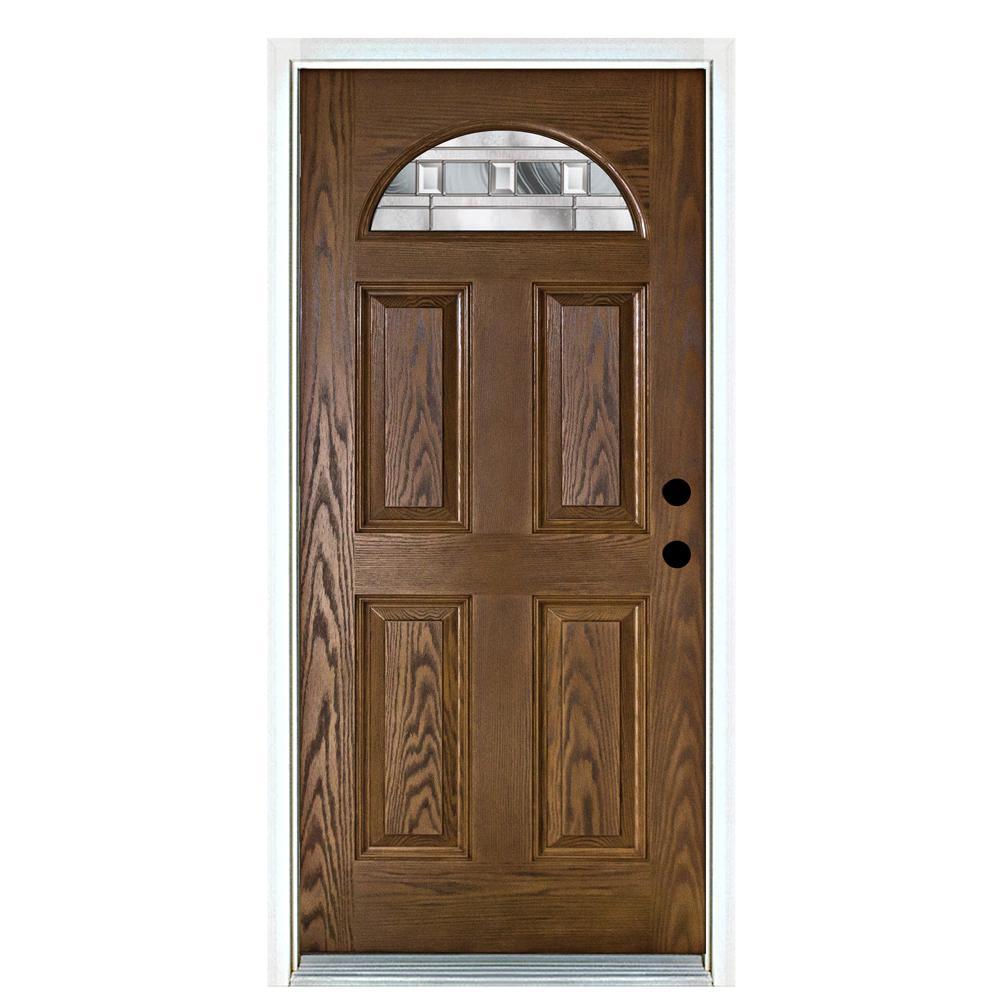 36 in. x 80 in. Savana Medium Oak Left-Hand Inswing Fan Lite Decorative Fiberglass Prehung Front Door