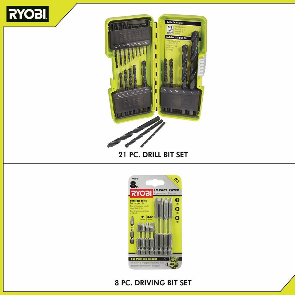 Black Oxide Drill Bit Set (21-Piece) with BONUS (8-Piece) Impact Rated Driving Kit