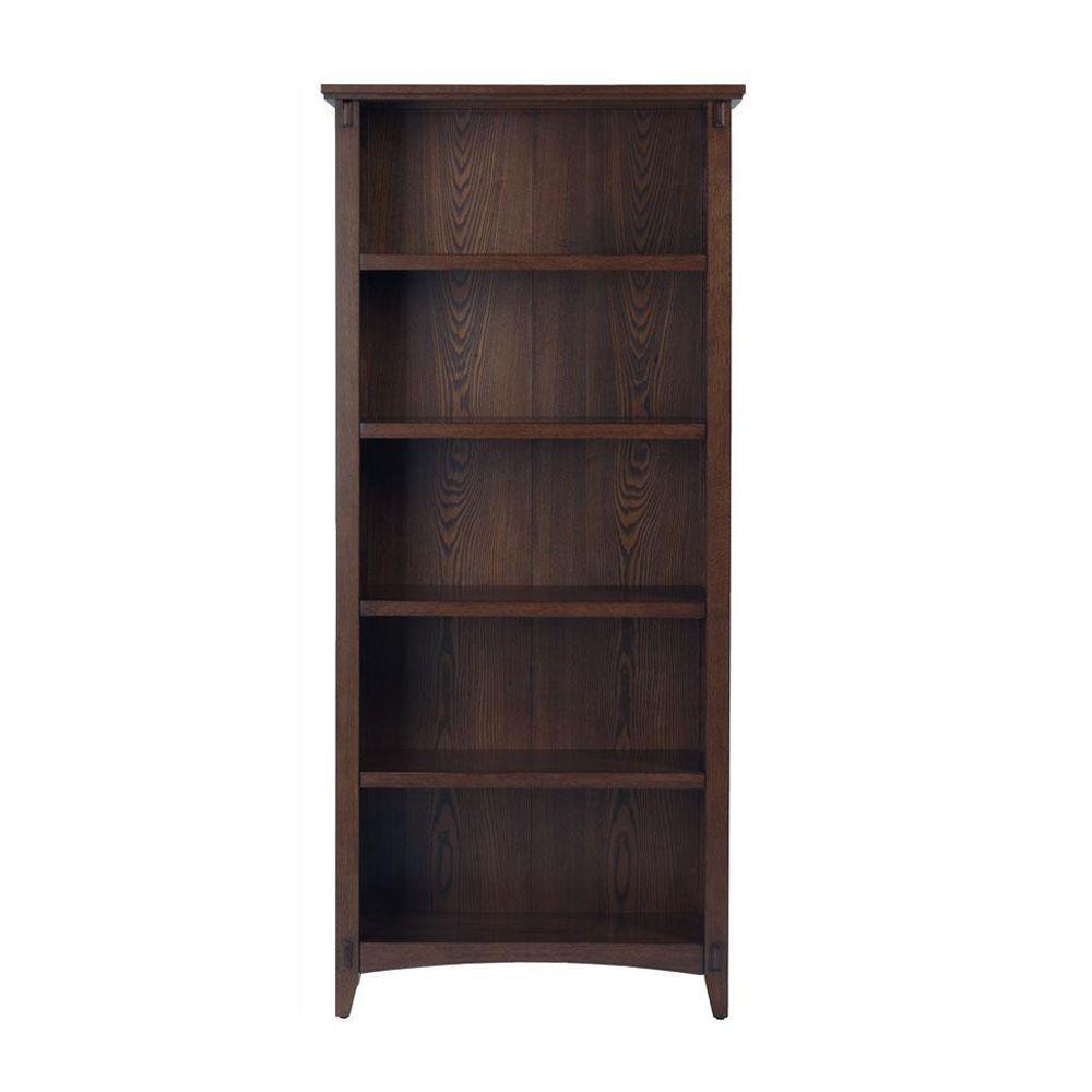 Home Decorators Collection 31 in. W Artisan Macintosh Oak 5-Shelf Bookcase