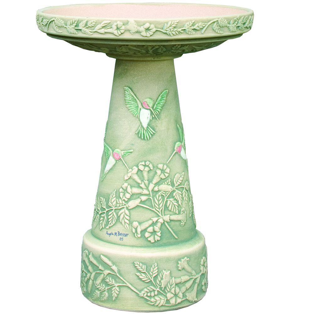 Burley Clay Hummingbird Hand-Painted Birdbath Set