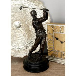 Polystone Golfer with Swinging Club Sculpture on Round Base by