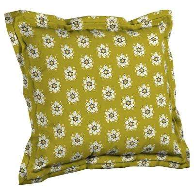 Artisans 21 in. x 23 in. Romanov Medallion Double Flange Outdoor Throw Pillow Back