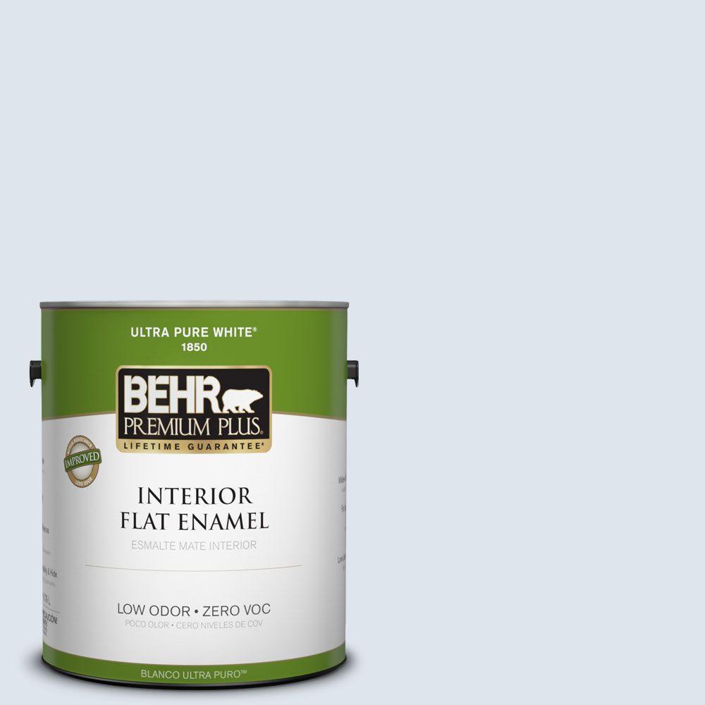 BEHR Premium Plus 1-gal. #570E-1 Glass Bead Zero VOC Flat Enamel Interior Paint-DISCONTINUED