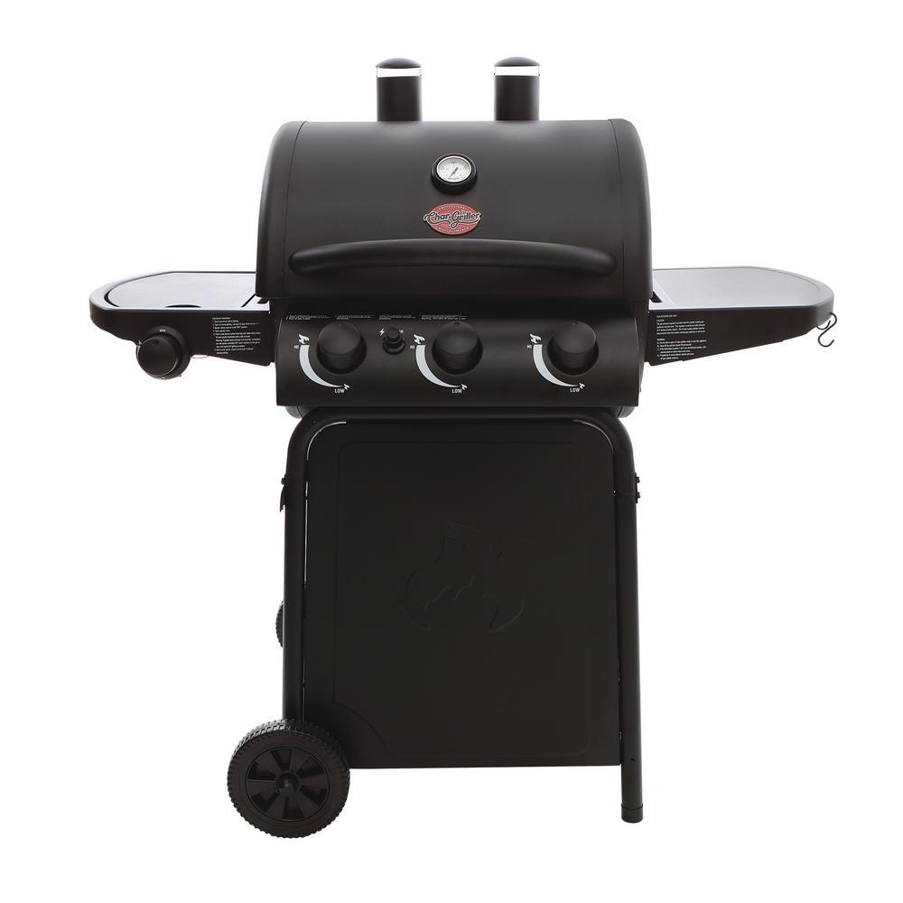 Char Griller 3 Burner Propane Gas Grill In Black E3072 The Home Depot