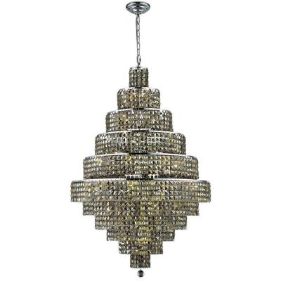 30-Light Chrome Chandelier with Golden Teak Smoky Crystal
