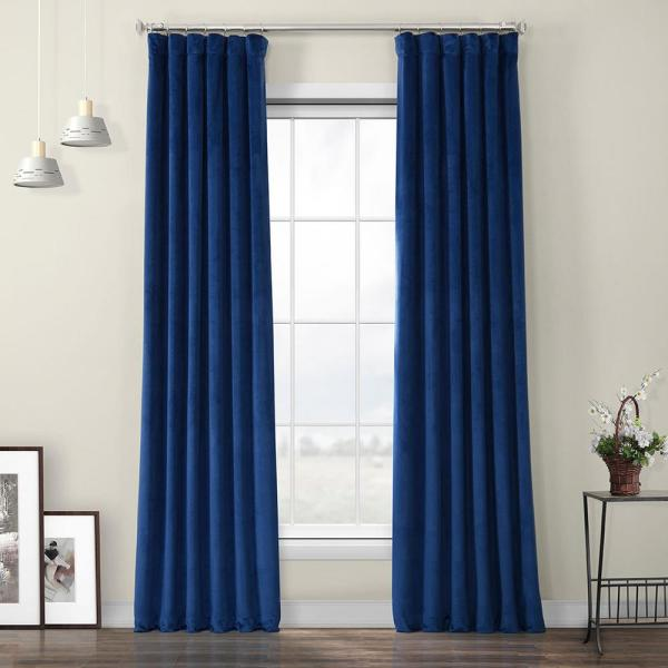 50 in. W x 84 in. L Heritage Plush Velvet Polyester Room Darkening Curtain in Pisces Blue