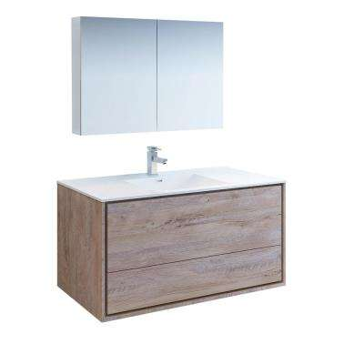 Catania 48 in. Modern Wall Hung Vanity in Rustic Natural Wood with Vanity Top in White with White Basin,Medicine Cabinet