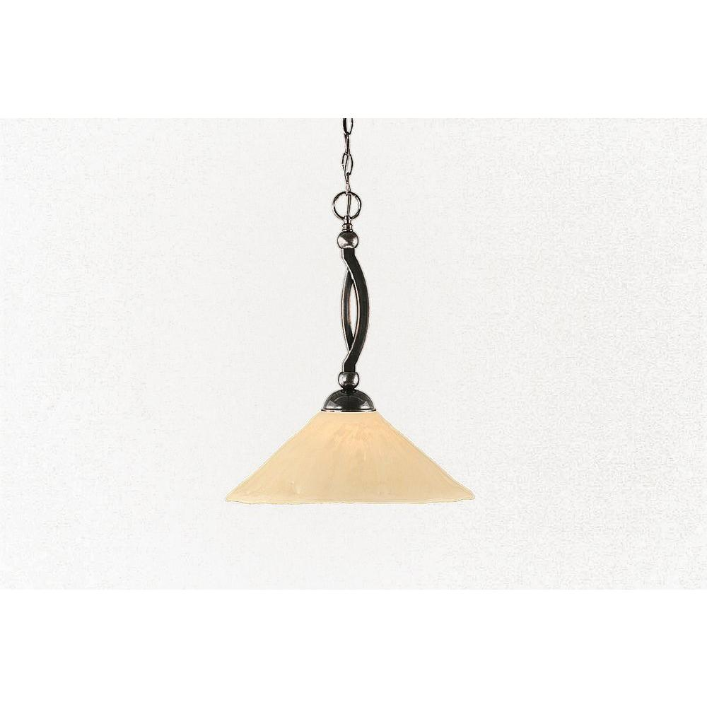 Filament Design 1 Light 16 in. Black Copper and Antique Ivory Glass Pendant-DISCONTINUED