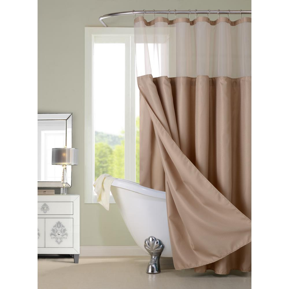 Dainty Home Complete 72 In Mocha Shower Curtain CSCDLMO