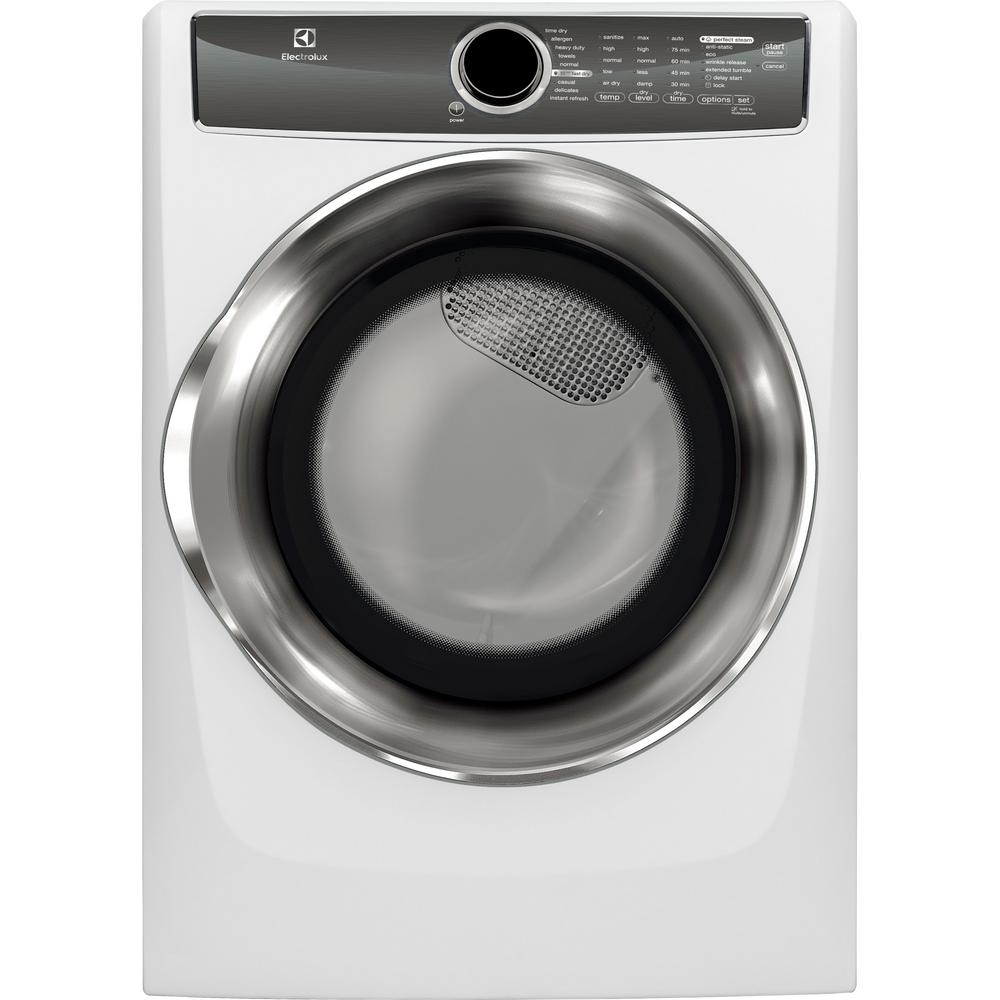8.0 cu. ft. Electric Dryer with Steam in White, ENERGY STAR