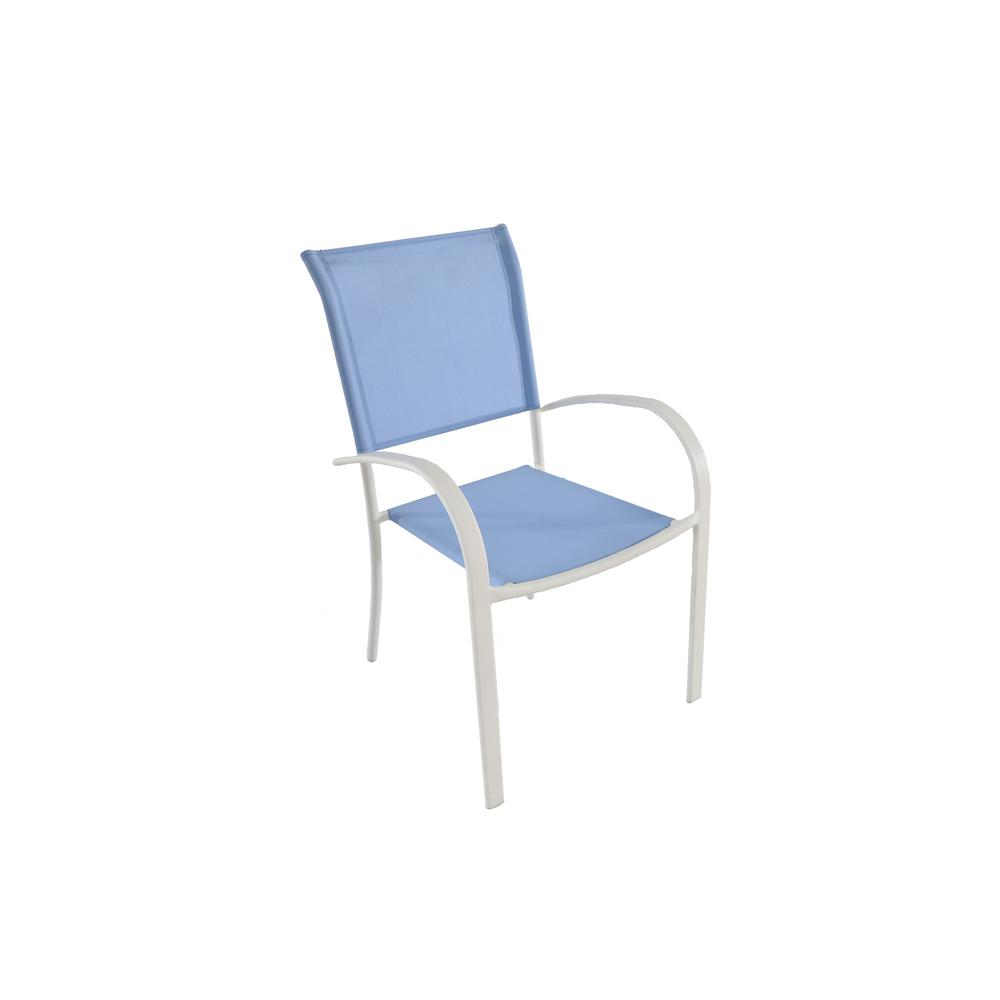 Mix and Match Stackable Metal Outdoor Dining Chair in Periwinkle Sling