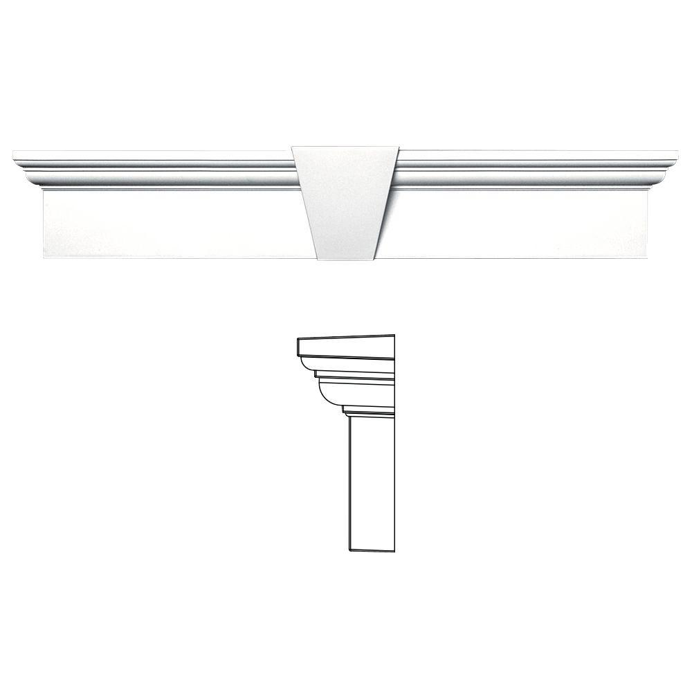 6 in. x 33-5/8 in. Flat Panel Window Header with Keystone