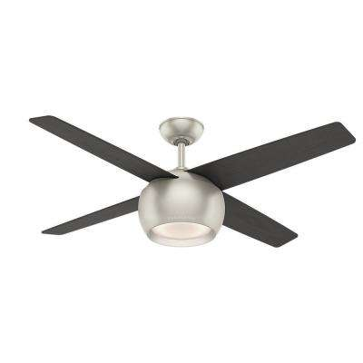 Valby 54 in. LED Indoor Matte Nickel Ceiling Fan with Light and Wall Control