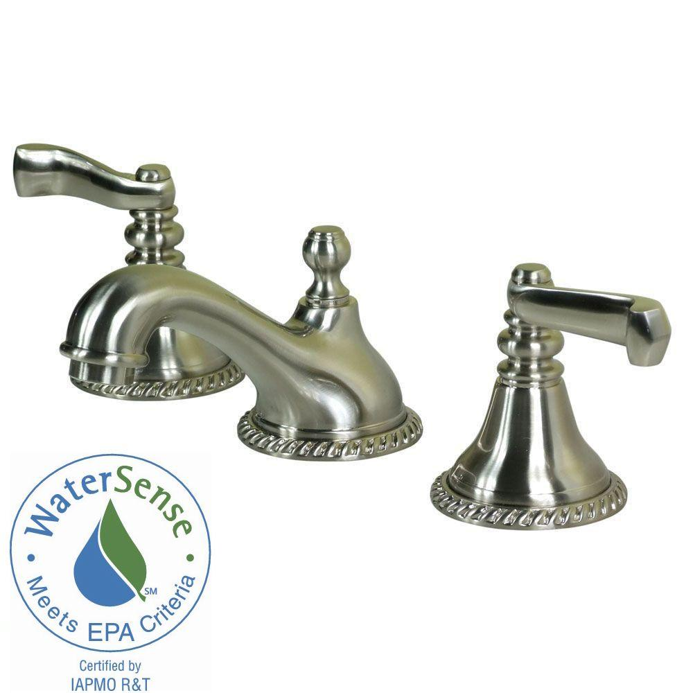 Pegasus Antique Rope 8 in. Widespread 2-Handle Low-Arc Bathroom Faucet in Brushed Nickel-DISCONTINUED