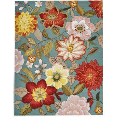 Spring Blossoms Aqua 8 ft. x 11 ft. Area Rug