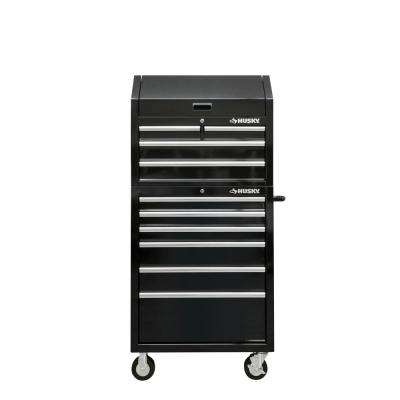 30 in. W 10-Drawer Deep Combination Tool Chest and Rolling Cabinet Set in Gloss Black