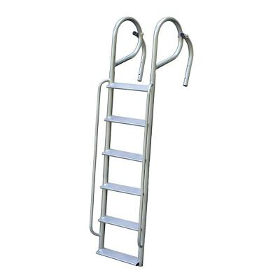 6-Rung Wide Step Aluminum Swing Ladder with Handrails