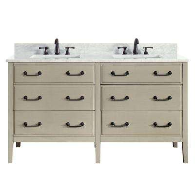 Delano 61 in. W x 22 in. D x 35 in. H Vanity in Taupe Glaze with Marble Vanity Top in Carrera White with White Basin