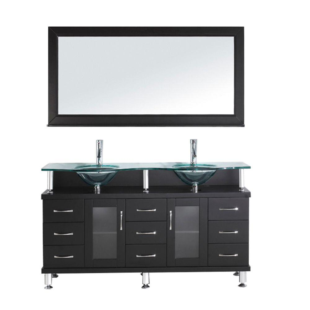Virtu Usa Vincente 59 In Double Basin Vanity Espresso With Gl Top And Mirror Md 61 G Esthd The Home Depot