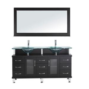 Virtu USA Vincente 59 inch Double Basin Vanity in Espresso with Glass Vanity Top and Mirror by Virtu USA