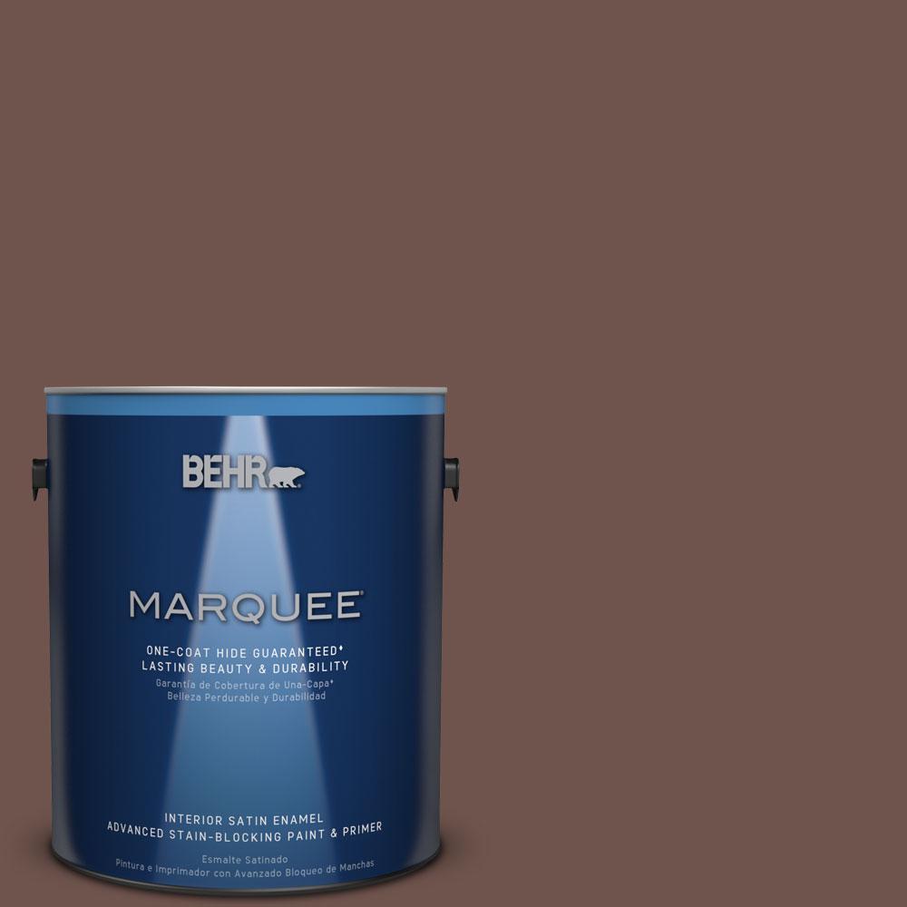 1 gal. #N130-7 Double Fudge One-Coat Hide Satin Enamel Interior Paint