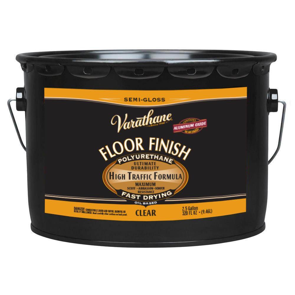 2.5 gal. Clear Semi-Gloss Oil-Based Floor Finish Polyurethane