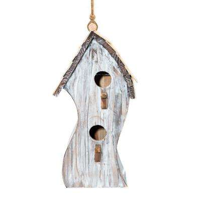 16 in. Tall Alpine White Swirly Wooden Birdhouse