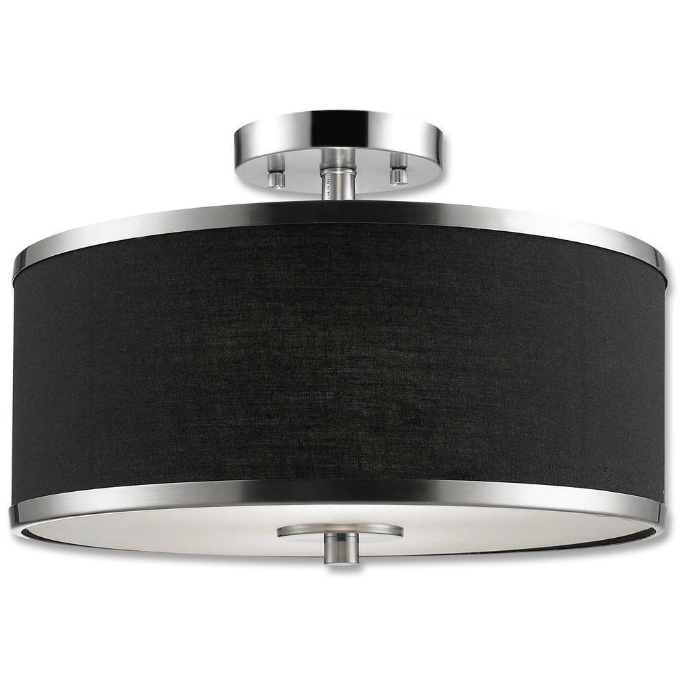 beldi medford collection 2 light satin nickel semi flush mount light