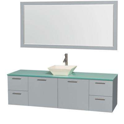 Amare 72 in. W x 22 in. D Vanity in Dove Gray with Glass Vanity Top in Green with Bone Basin and 70 in. Mirror