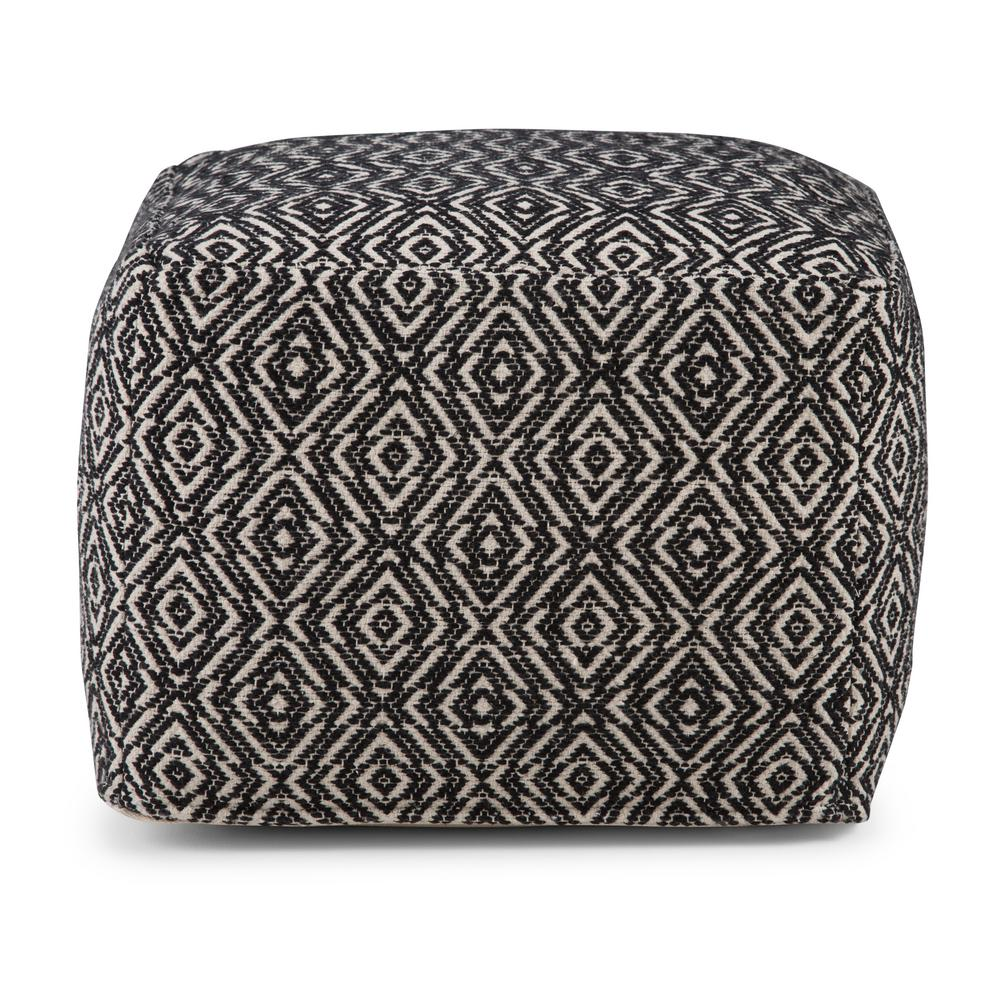 Sensational Simpli Home Graham Transitional Square Pouf In Patterned Gmtry Best Dining Table And Chair Ideas Images Gmtryco
