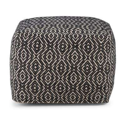 Graham Patterned Black and Natural Square Pouf