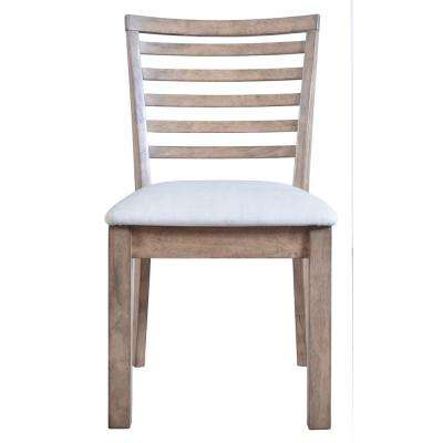 Paulina White PU and Rustic Oak Side Chair