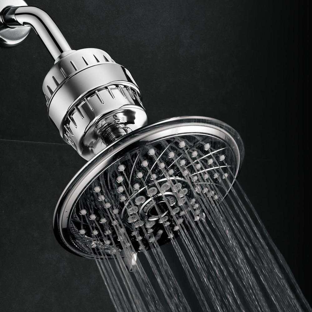 Hotel Spa 6-Spray 6 in. Fixed Showerhead with Filtration in Chrome