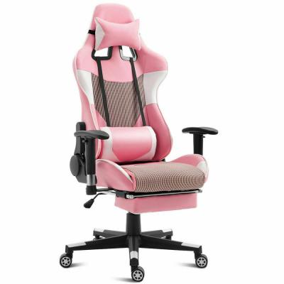 Pink Gaming Chair High Back Racing Office Chair Upholstered with Lumbar Support and Footrest