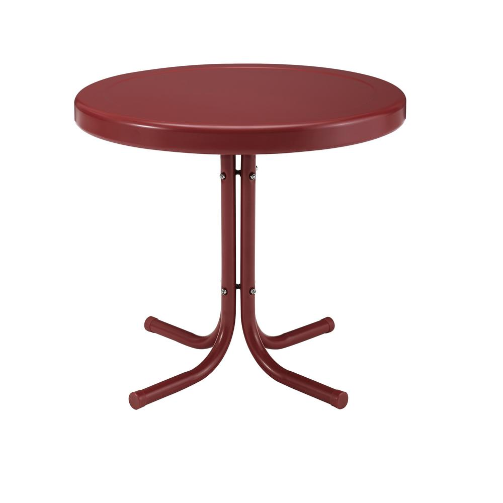 Crosley Retro Griffith Red Round Metal Outdoor Side Table
