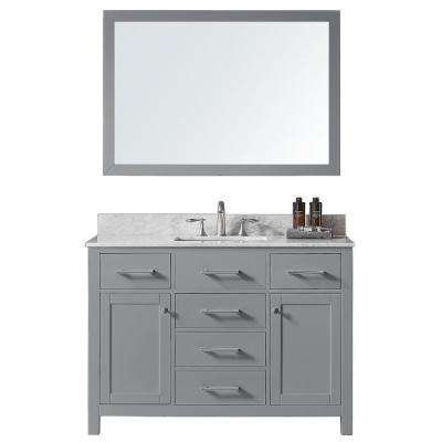 Colette 48 in. W x 22 in. D x 34.2 in. H Bath Vanity in Taupe Grey w/ Marble Vanity Top in White w/ White Basin & Mirror