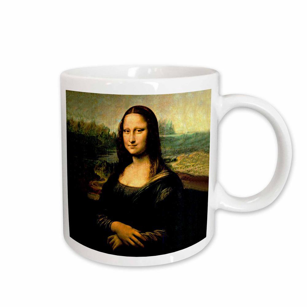 Leonardo Da Vinci 11 oz. White Ceramic Monalisa Mug