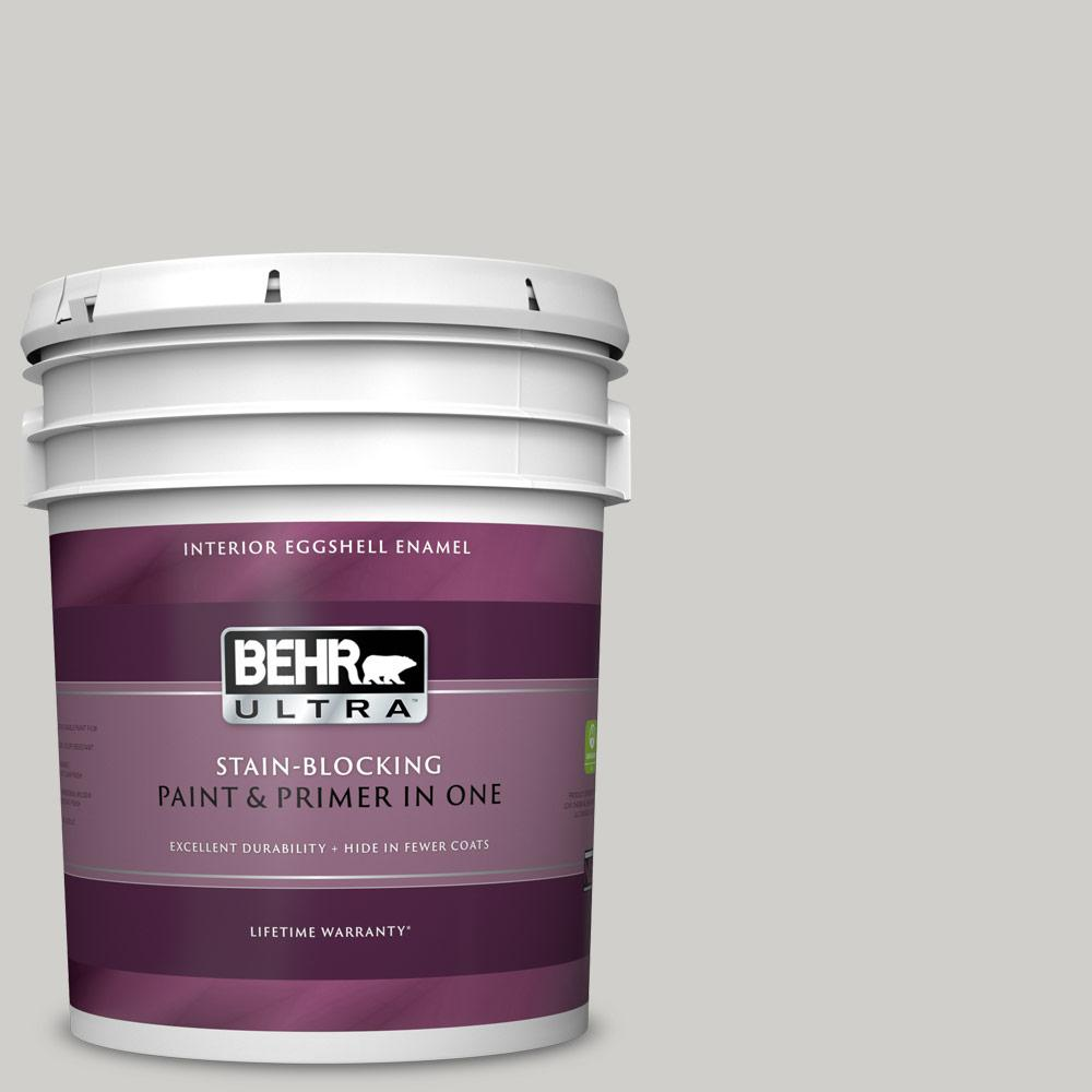 Behr Ultra 5 Gal Ppf 18 Gazebo Gray Eggshell Enamel Interior Paint And Primer In One 275005 The Home Depot