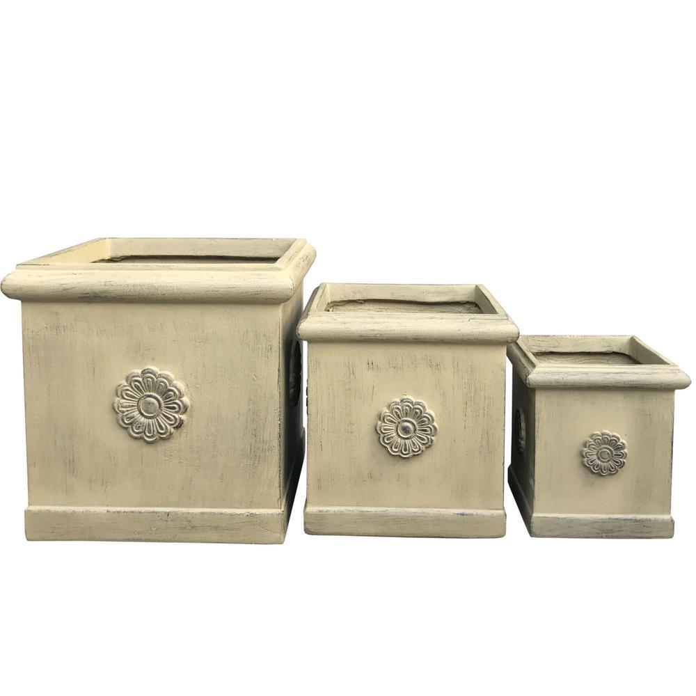 Lightweight Concrete Chrysantemum Square Brownstone Color Planter (Set of 3)