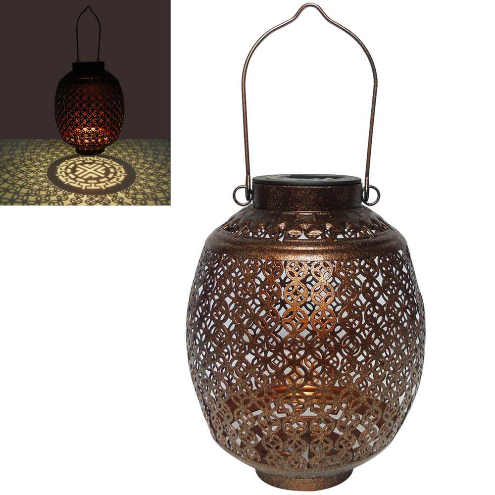 Solar Metal 10 in. Shiny Dark Bronze Oval Tabletop Lantern with Golden Shine (20 Lumens)