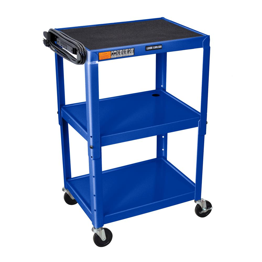 luxor Adjustable Height Steel 24 in. in. Utility Cart in ...