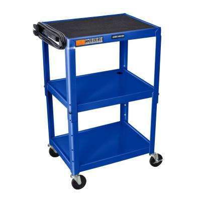 Adjustable Height Steel  24 in. in. Utility Cart in blue